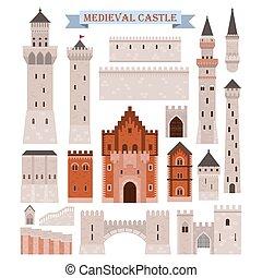 medieval, puertas, torres, paredes, partes, castillo, como