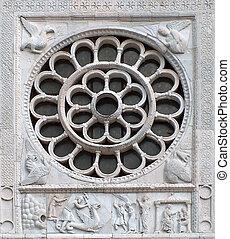 medieval rose window - particular of medieval rose window