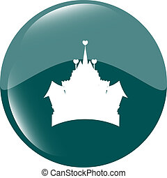 Medieval royal castle - green icon button isolated