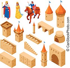 Medieval Royal Castle Isometric Set
