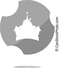 Medieval royal castle - web icon button isolated
