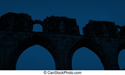Medieval Ruins At Night - Panning shot looking around old...