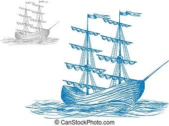 Medieval sail ship in ocean waves
