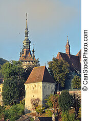 Medieval Saxon Fortress View In Sighisoara