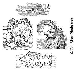 Medieval sea monsters, old print