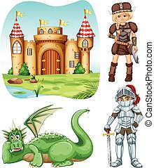 Medieval set with knight and dragon