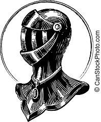 Medieval shield - Vector engraving art of a medieval metal...