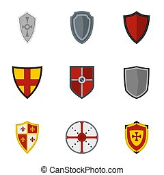 Medieval shield icons set, flat style