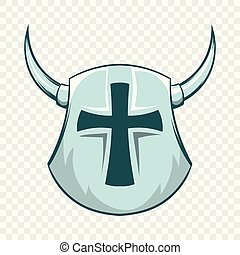 Medieval shield with cross and horns icon