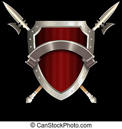 Medieval shield with spears and silver ribbon.