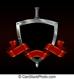 Medieval riveted shield with silver ribbon and sword on black background.