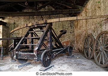 Medieval siege weapons, catapult with bow engine.
