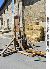 medieval siege weapons, festival with antique decor in a traditional village in Spain zamora