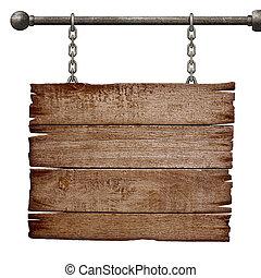 medieval, signboard, ahorcadura, cadena, aislado, blanco