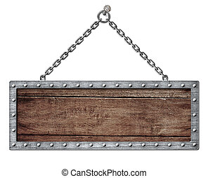 medieval signboard or shield hanging on chain isolated on...
