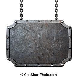 medieval, signo metal, o, marco, con, cadenas, aislado, blanco
