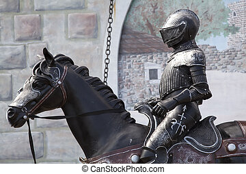 medieval, soldado, ligado, horseback