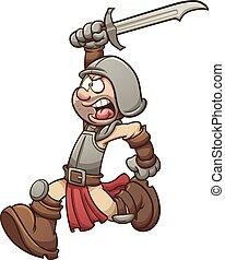 Medieval soldier running. Vector clip art illustration with...