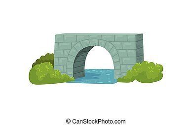 Medieval stone bridge, blue river and green bushes. Construction for transportation. Architecture theme. Flat vector design