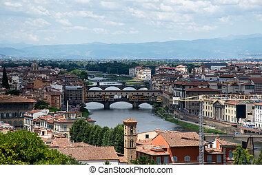 Medieval stone bridge Ponte Vecchio over the Arno River, Florence, Tuscany, Italy.