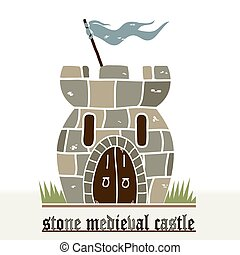 Stone Castle - Medieval Stone Castle cartoon, flat design -...