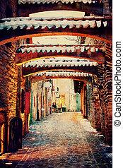 Medieval street in Old Town of Tallinn