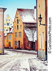 Medieval street in Old Town of Tallinn