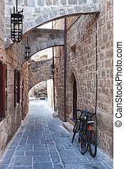 Medieval street in Rhodes, Greece - Medieval street in Old...