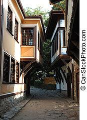 Medieval street of old city center in Plovdiv, Bulgaria