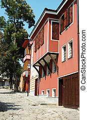 Medieval street of old city center in Plovdiv,Bulgaria