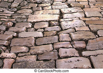 Medieval street paved with the cobble stones (Rovinj, ...