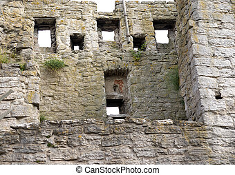 Medieval surrounding wall in the town of Visby, on the island of Gotland, Sweden