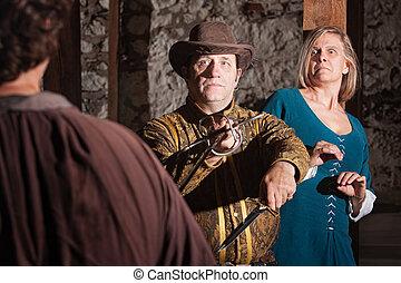 Medieval Swashbuckler Saves Woman