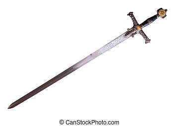 Fantasy medieval sword isolated on white background disposed by diagonal