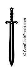 Medieval sword - Medieval knight sword with black steel...