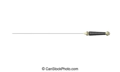 Medieval sword spins on white background