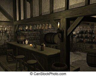 medieval, taberna