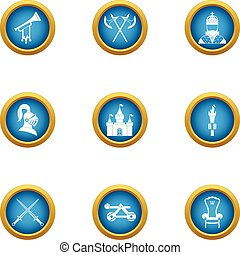 Medieval takeover icons set, flat style - Medieval takeover...