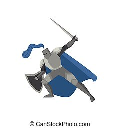 Medieval tale knight in metal steel armor with sword
