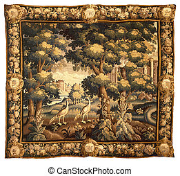 Medieval tapestry fabric pattern with classical landscape ornament in brown tones on light-beige background.
