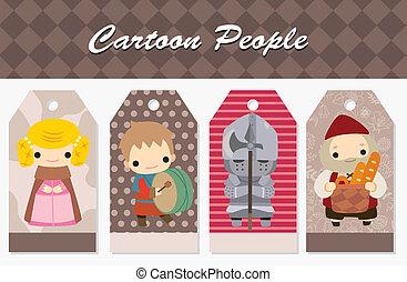 medieval, tarjeta, gente