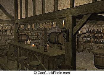 medieval tavern - 3d render