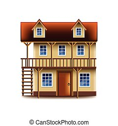 Medieval tavern isolated on white vector - Medieval tavern...