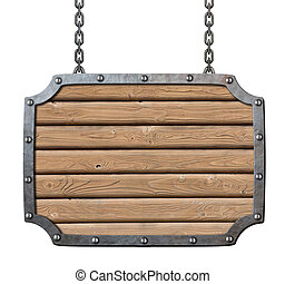 medieval tavern wooden planks signboard isolated