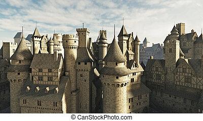 medieval, telhados