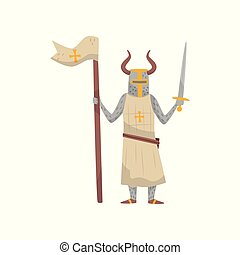 Medieval Templar armored knight warrior character with flag and sword vector Illustration on a white background