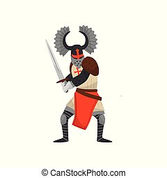 Medieval Templar armored knight warrior character with sword vector Illustration on a white background