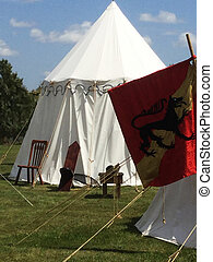 Medieval tent and banner - Medieval tent and red banner