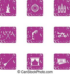 Medieval theatre icons set, grunge style - Medieval theatre...