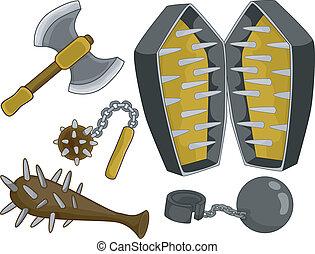 medieval, tortura, dispositivos